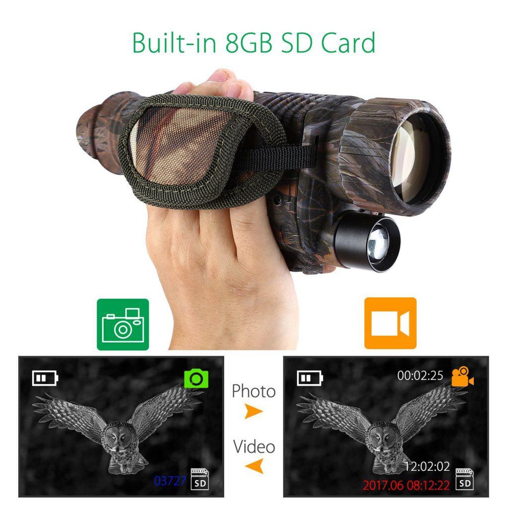 BOBLOVの5倍 迷彩ナイトビジョンビジョン・SDカードに動画を録画、写真撮影・ WG-37 200m